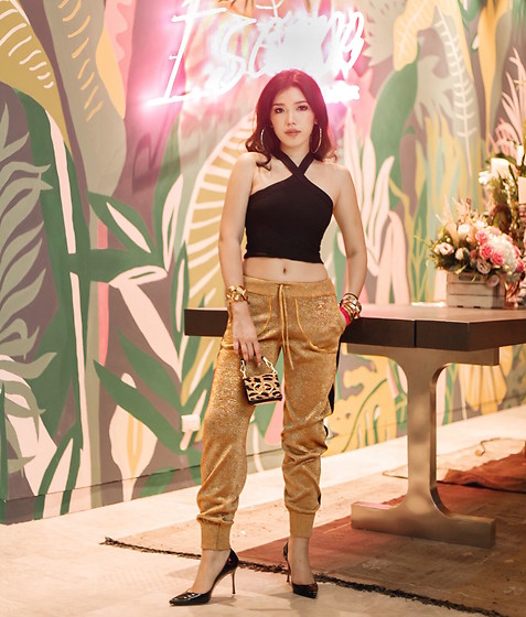 Mimi N. - Alexander Wang Top, Bella Freud Track Pant, Dsquared2 Bag, Sergio Rossi Heels - Living for gold moment