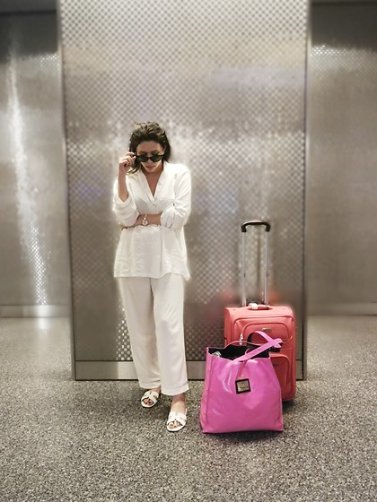 Tneale Williams - Poppy Divine Piped Pajama Set, Hermès Leather Slides, Macy's Hand Luggage - Sleep where?