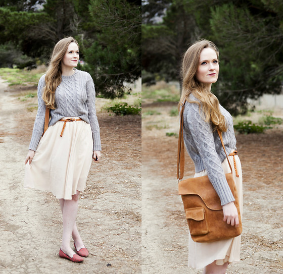 Emily S. - Forever 21 Sweater, Joie Smoking Slippers, No Brand Midi Skirt, Etsy Bag - Chiffon & Smoking Slippers
