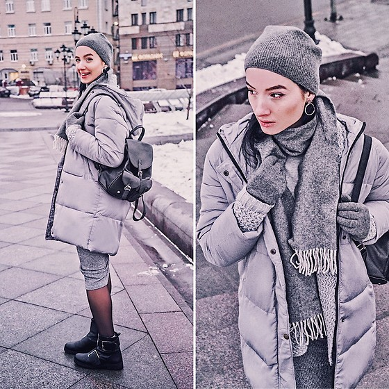 Natasha Karpova - Shein Grey Puffer Coat, Shein Knitted Skirt, Dresslily Black Backpack, Zaful Cardigan, Gant Scarf, Stradivarius Biker Boots, Stars Earrings, Falconeri Gloves - ALL ABOUT GREY