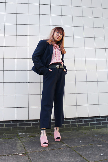 RuiJun L - Thrifted Ancient Blouse, H&M Blue Blazer, H&M Panther Belt, Asos Blue Pants, New Chic Stiped Socks, H&M Pink Platform Heels - ANCIENT CHIC