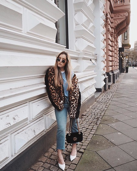 Fashiontwinstinct - Ivyrevel Leo Jacket, Gucci Bag, Zara Slingback Pumps, Quay Australia Sunnies - That furry leo coat.