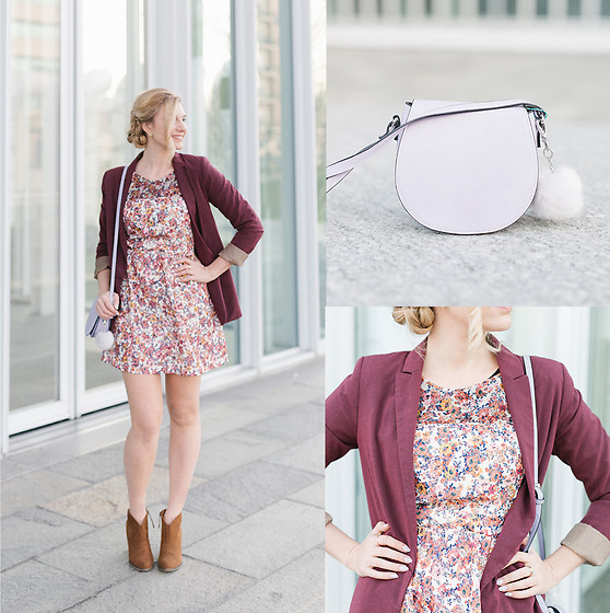 Cristina Siccardi - Bershka Floral Dress, Stradivarius Burgundy Blazer, Stradivarius Brown Suede Ankle Boots, Even & Odd Lilac Mini Bag - Violet Bouquet