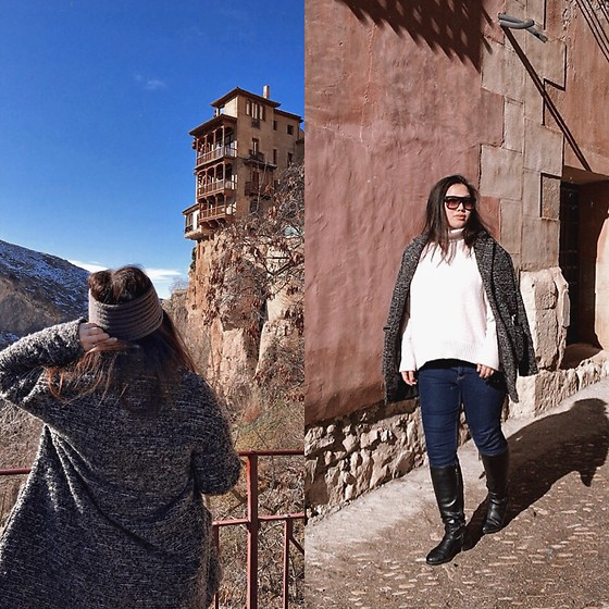 Joyce Wang - H&M White Turtle Neck Sweater, Dkny Jeans Fitted, Parfois Knee High Leather Boots - Cuenca Day Trip
