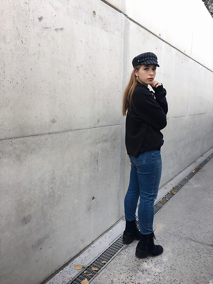 Liva Bambale - Asos Boy Hat, H&M Black Hoodie, H&M Blue Jeans, Asos Black Boots - Hey you