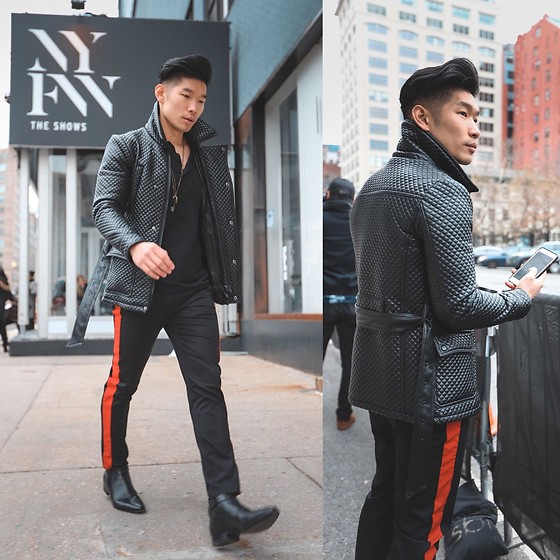 Leo Chan - #Whereto Nyfw, Quilted Leather Jacket, Ysl Boots - NYFW Leather