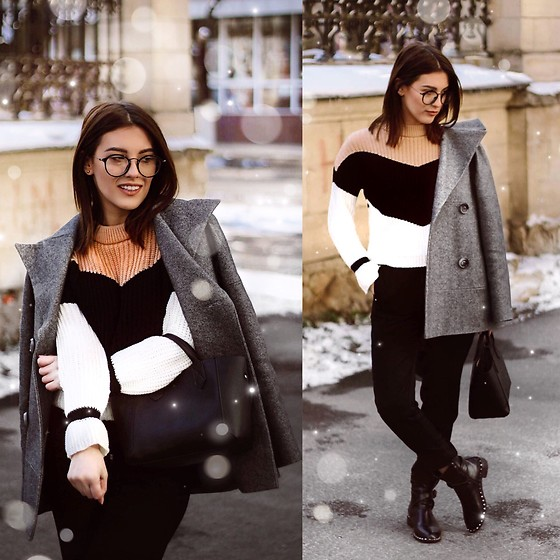Vlada Avornic - Zaful Sweater, H&M Pants, Vistline Coat - Chunky sweater for winter days