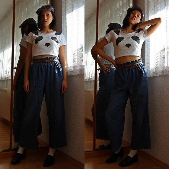 Tram Anh - Volcom Cap, Panda Crop Top, Belt, Wide Jeans, My Mom's Retro Shoes - Use me, Holly