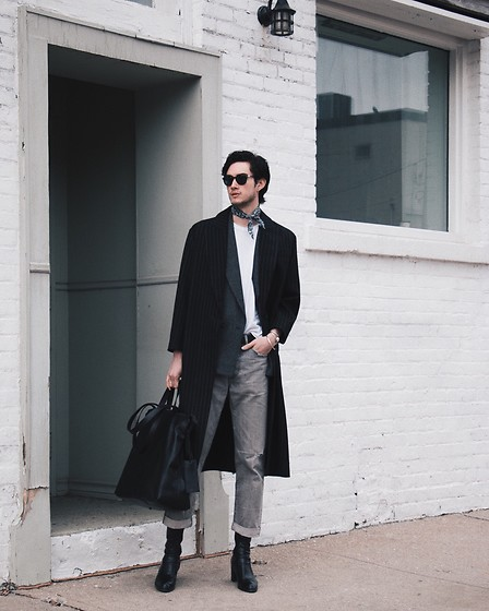 Nigel Lew - Marsell Leather Tote, Filippa K Coat, Persol Sunglasses, Chimala Jeans - The Overcast
