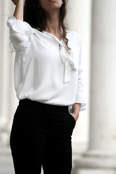 Carmen Schubert - Orsay White Blouse, Orsay Black Pants - Black & White