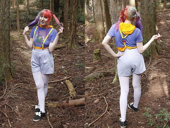 Lindwormmm - Thrifted + Diy Pastel Lilac Shorts, Second Hand Quasimodo Disney T Shirt, Thrifted Hot Air Balloon Suspenders, White Tights, Jeremy Scott Bones, Mini Horns - Hello Forest Kyoto and Dead Bugs