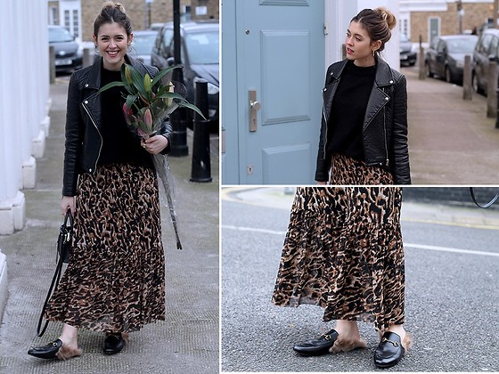 Amy Ramírez - Na Kd Skirt, Gucci Shoes - Leopard and furry shoes