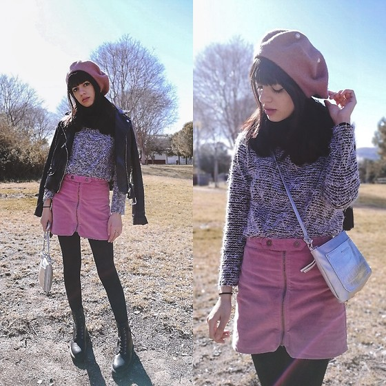 Cristina G. - Kiddy's Class Skirt, Stradivarius Hat, Primark Handbag, Shifstore Boots - Pink skirt
