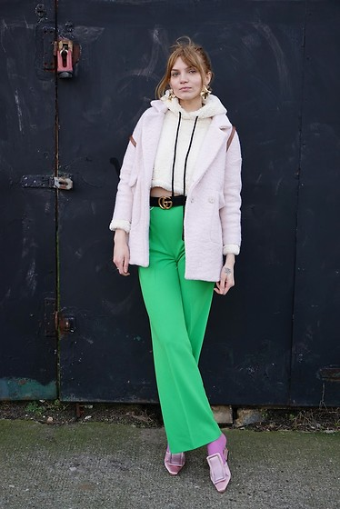 Carla V - Gamiss Faux Fux Hoodie, Rosegal Coat, Gucci Belt, Vintage Trousers, Rosegal Satin Mules - That 70's Show
