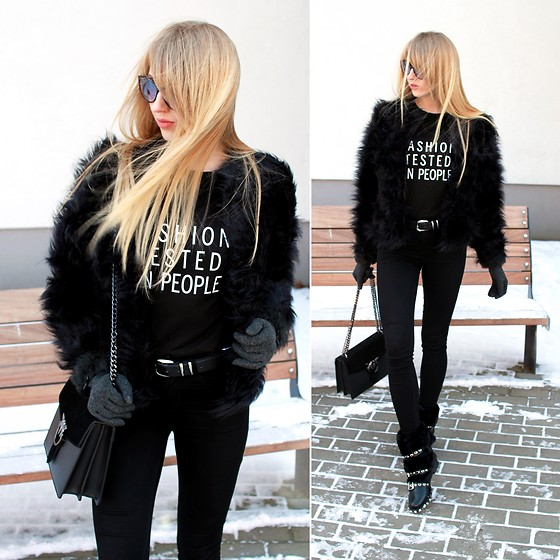 Diane Fashion -  - Black total look - fur coat and boots