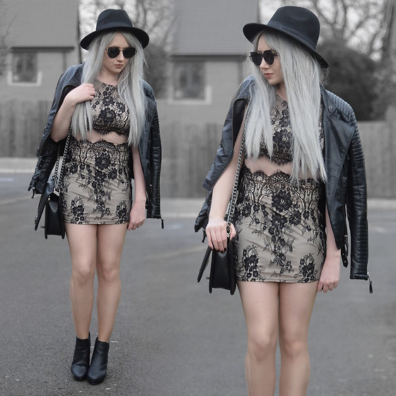 Sammi Jackson - Primark Black Fedora, Zaful Sunglasses, Shein Biker Jacket, Tobi Darkest Desire Lace Bodycon Dress, Oasap Quilted Flap Bag, Office Ankle Boots - TOBI LACE CUTOUT DRESS