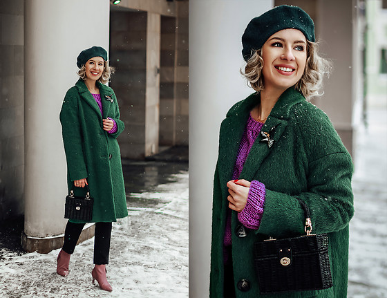 Margarita Maslova - Zara Green Coat, Zara Bag - Green & Ultraviolet