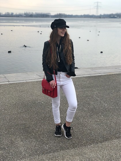 Vera Vonk - Mango White Jeans, H&M Red Bag, Mango Leather Jacket, Costes Black Hat, Nike Shoes - Spring is coming