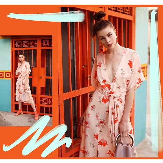 Ms. Morgan Ryan - Dra Kimono Dress, Melie Bianco Bucket Bag - HIDDEN DRAGON