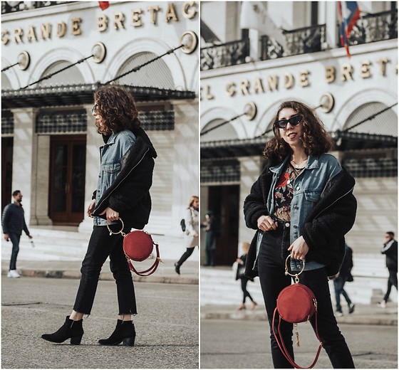 Theoni Argyropoulou - Zaful Round Bag, Pull & Bear Oversized Denim Jacket, American Eagle Outfitters Embroidered Blouse, Shein Teddy Bear Jacket, Asos Fitted Mom Jeans And Diy, Bershka Ankle Boots, Cat Eye Sunglasses - Chloé Look-Alike Bag on somethingvogue.com