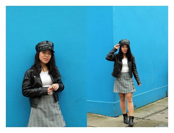 Thuy Pham - Missguided Baker Hat, J Brand Long Sleeve White Top, Missguided Faux Leather Jacket, Tobi Plaid Skrt, F&F Ankle Boots - Pop of colour
