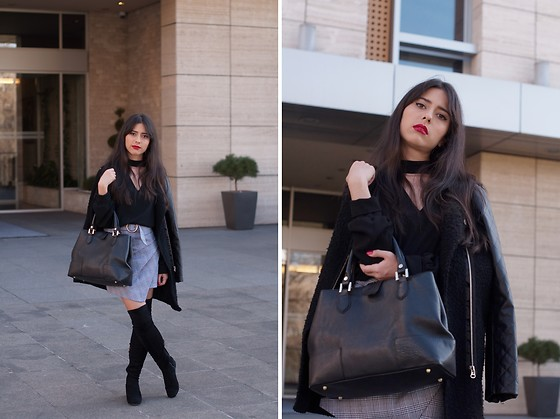 Jelena Dimić - Romwe Coat, Zaful Cut Out Blouse, Manual Co. Black Handbag, Shein Asymmetric Plaid Skirt, Exit Over The Knee Boots - I'm turning away from the past