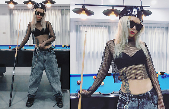 Vita Chen - Vii & Co. Netted Crop Top, Vii & Co. Bf Jeans With Chains, Alexander Wang X Kangol Peebles Cap - 🎱🎱