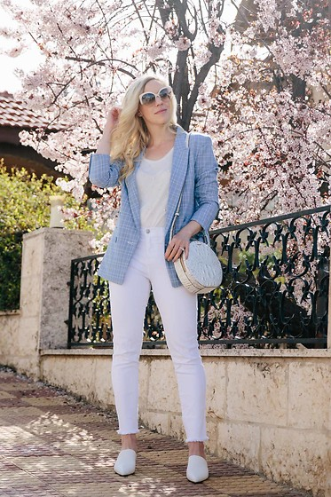 Meagan Brandon - Plaid Blazer (On Sale Under $40), Similar Tee, White Jeans, Brahmin Bag, White Mules - The Best Plaid Blazer for Spring