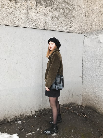Kristina Magdalina - Poppy Lovers Faux Fur Coat - Olive color