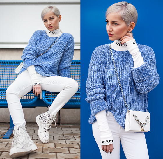 Julia Loewenherz - Costes Nl Chenille Sweater, Mango White Coated Pants, Dr. Martens White Marble Boots - стиль