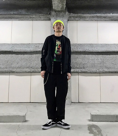 ★masaki★ - Obey Micro Beanie, Ch. Linen Bomber, Ch. Dun Pants, Converge Tee, Vans Oldskool - Black style