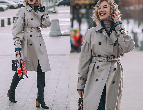 Margarita Maslova - Mango Trench Coat, Zara Bag, Gucci Silc Scarf, Zara Leather Pants - MBFW Russia'18