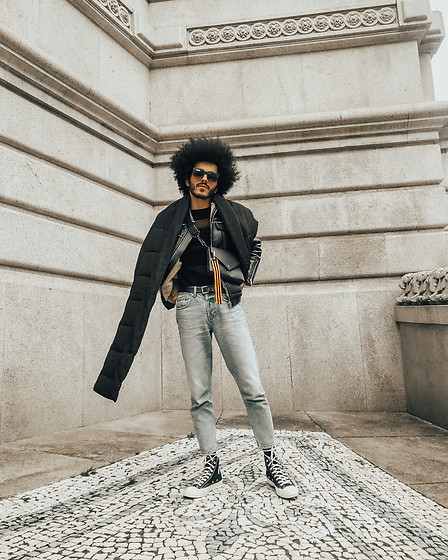 Marco Moura - Zara Jeans, Comme Des Garçons Sneakers, Diy Bag, Zara Leather (Fake) Jacket, Zara Scarf - Mesh Sweater & Jeans, that's it!