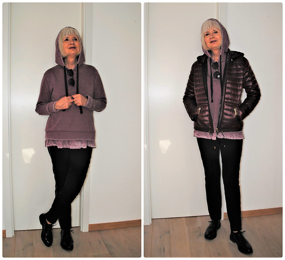 Reni E. -  - Berry hoodie and down jacket