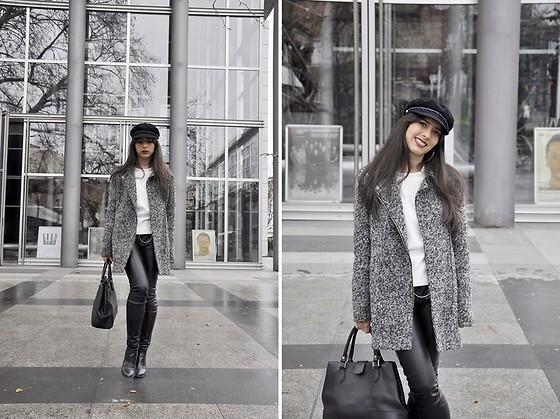 Jelena Dimić - Rosegal Newsboy Hat, H&M Textured Grey Coat, Shein White Ribbed Sweatshirt, Zara Faux Leather Trousers, Manual Co. Black Handbag, Unbranded Black Ankle Boots - I medicate my mind, come illuminate my night
