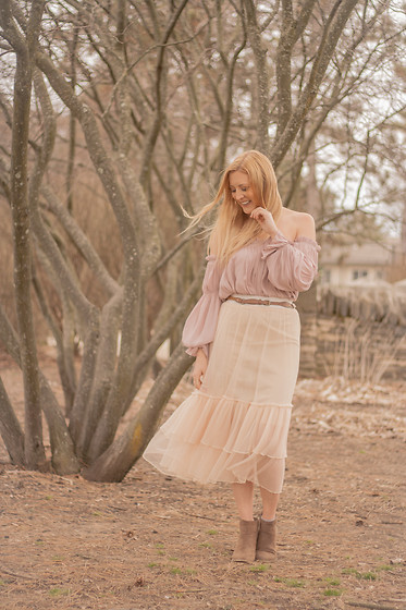 BG by Christina L - Zaful Mesh Skirt, Forever 21 Lavender Blouse Off The Shoulder, Modcloth Taupe Booties - A Boho Take On A Frilly Skirt
