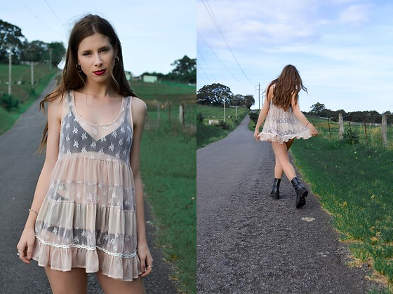 Aka. the Vixen ⚡ - Hustle & The Vixen Sweet Sheer Lace Babydoll Dress - Sweet Romancer