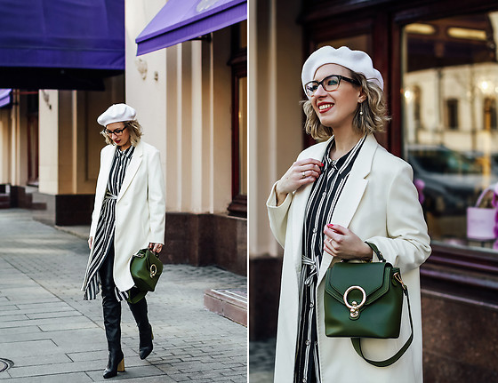Margarita Maslova - Elis White Coat, Zara Striped Shirt, Zara Leather Pants, Carlo Pazolini Boots - White coat