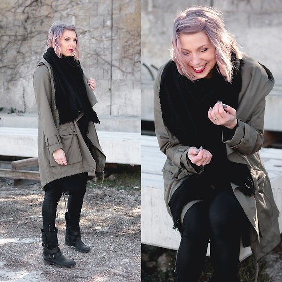 Lavie Deboite - Zara Scarf, Asos Parka, Only Coated Pants, Arizona Bikerboots, H&M Longshirt - Parka and Bikerboots