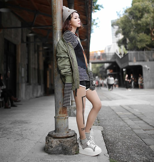 Miriam Mibao - Herschel Beanie Hat, Alpha Industries L 2b Flight Jacket, Zohara Stockings - L-2B