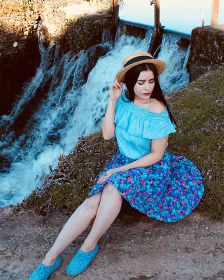 Pretty-Roxanne Stratmains ☥ - Pimkie Blue Bardot Shirt, La Halle Blue Sneakers, Handmade Blue And Pink Flowers Skirt - Blue jeans