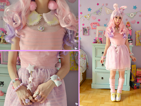 Luly Pastel Cubes - Reebok 90s, Oh Candy Store Bunny, Pastel Doll Pastels, Retro Candy Dress - Pink bunny