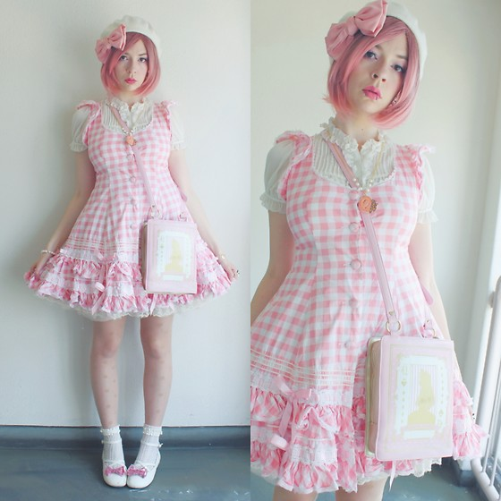Candy Thorne - Bodyline Gingham Op, Angelic Pretty Alice Book Bag, Angelic Pretty Bow Shoes - Hanami