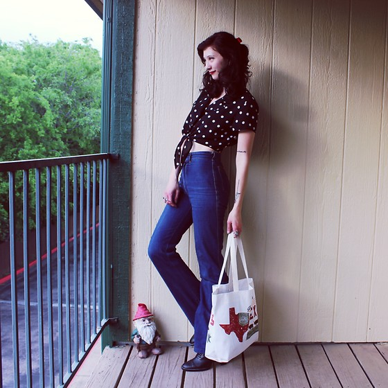 "Michelle Blue - Vintage Polka Dot Blouse, Vintage Bell Bottoms - ""Deep In The Heart"""