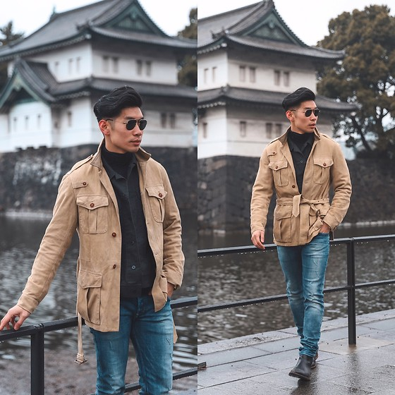 Leo Chan - How To Wear A Suede Jacket, Polo Ralph Lauren Suede Jacket, Prada Teddy Sunglasses, Gordon Rush Chelsea Boot, Uniqlo Heattech Turtleneck - Suede Jacket | Spring Transition Look