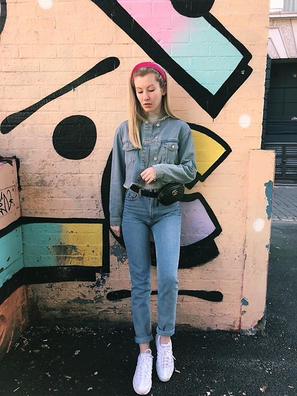 Bec Oakes - Denim Jacket, Mom Jeans, Dad Trainers, Belt Bag, Velvet Hairband - True Blue