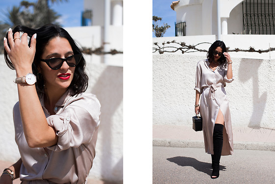 Maray - Mango Sunglasses, Cluse Watch, The Shopshowroom, Dress, Mango Bag, Public Desire Boots - Favorite Dress