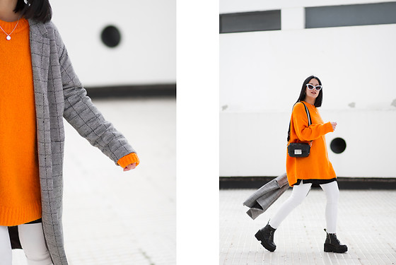 Maray - Pull & Bear Coat, H&M Sweater, Zara Bag, Gamiss Boots, Zaful Sunglases - Orange