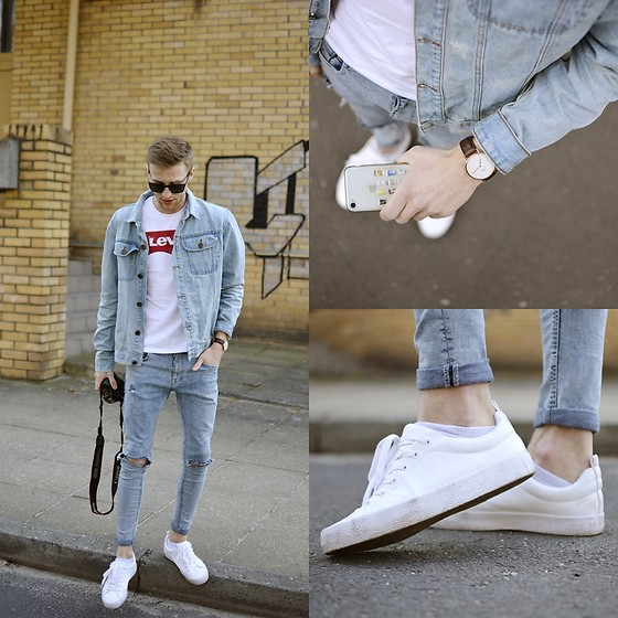 Adrian Kamiński - Stylepit Jacket, Levi's® T Shirt, Daniel Wellington Watch, Bershka Shoes - LEVIS & JEANS