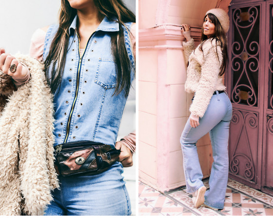 Kaya Peters - Vintage Fanny Pack, Rumors Vintage Denim 70's Jumpsuit, Zara Faux Fur Jacket - Hippie 70's Vibes